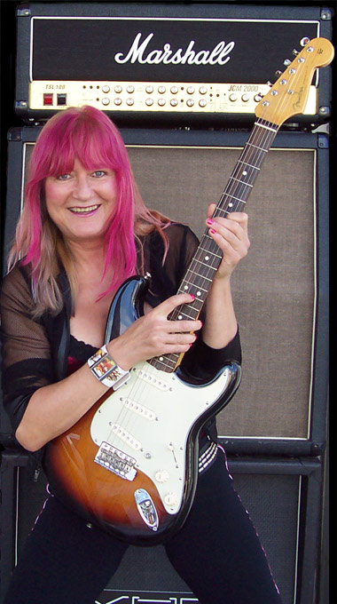 Female Blues Guitar Player Shredmistress Rynata with Fender Strat
